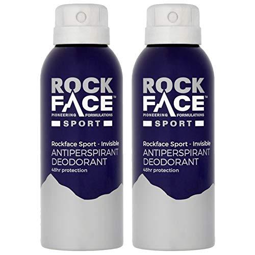 2x Rockface Men's Sport 150ml Vegan Anti-Perspirant Invisible Deodorant 48 Hours Sweat & Odour Protection Made in UK