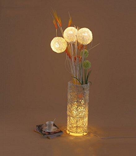 FENG LIAN Brandhout-vloerlamp Moderne en eenvoudige landelijke slaapkamer woonkamer studie rotan E27 * 1 voetschakelaar crème kleur staand licht