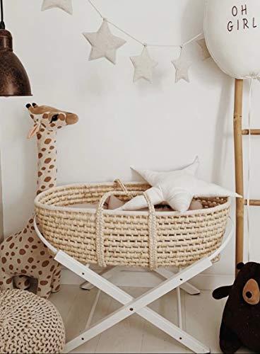 Couffin pour bébé avec support et matelas à trois couches, couffin avec support pliable, couffin literie fait à la main (support blanc)