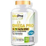 Life Pro Omega 3 Pro IFOS TG36/24 90 Softgel de Alta Potencia   Destilado para Mayor Pureza   La Mejor Fuente de Ácidos Grasos