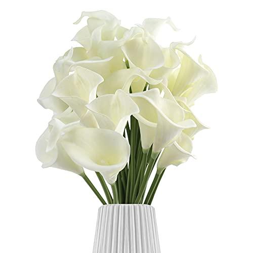 30 unidades de flores artificiales de cala, ramo de flores artificiales de tacto real, para bodas, decoración de cocina, hogar y cocina (color blanco leche)