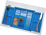 Tcerlcir Manteles Individuales Almería Vista Desde la Ventana Azul, Juego de 6 manteles Individuales para Mesa de Comedor, manteles Individuales Lavables Resistentes a la abrasión, 12 x 18 Pulgadas