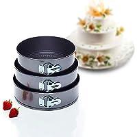 Kitchen Craft Cake Tin Set Juego de Fuentes para Tortas con Mecanismo Dedesprendimiento Rapido a Resorte, Negro