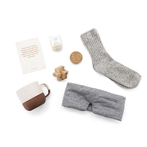 Rustige Club Achtzaamheids- en ontspanningsset, bevat opletten-puzzelspel, patchouli sojakers, knuffelige wollen sokken, slaapmasker en keramische beker, zelfverzorging en acht cadeau.