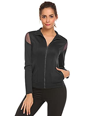 Mofavor Women's Lightweight Active Full Zip Up Mesh Running Workout Jacket With Pockets