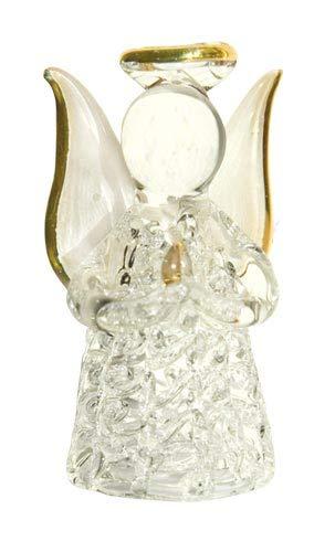 TEMPELWELT Deko Figur Schutzengel Engel der Klarheit 4,5 cm, Glas teilweise Gold verziert, Glasfigur in schöner Geschenkbox mit liebevoller Botschaft