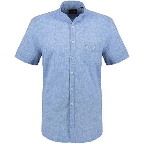Jupiter Hemd Übergrößen Herren Kurzarmhemd mit Stehkragen und Leinen-Anteil blau_118 7XL