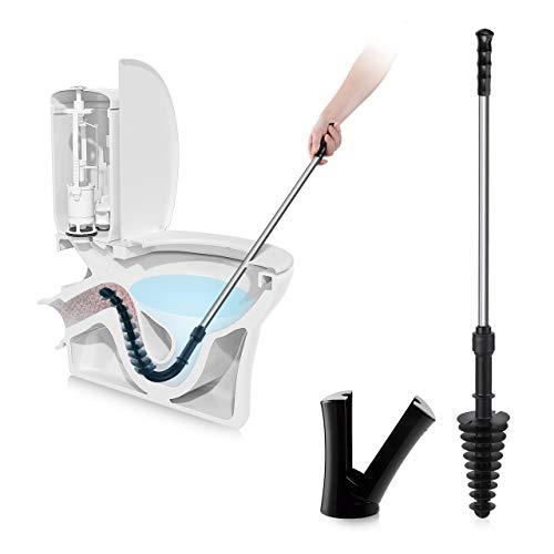 LEPOToilettenPömpel zum abflussreiniger toilette, ToiletPlungermitlangemGriffausEdelstahl, Reinigungsbürste mit Halter, WCabflussstampferTurbostampferPümpelbefreit Verstopfungen