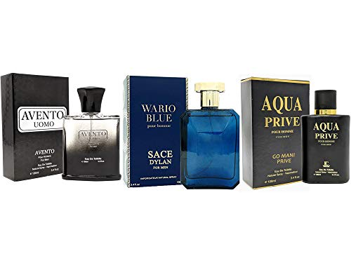 J&H AVENTO UOMO + WARIO BLEU + BLACK CEO, Eau de Toilette Spray for Men, Wonderful Gift, Masculine, Daytime and Casual Use, for all Skin Types, a Classic Bottle, 3.4 Fl Oz
