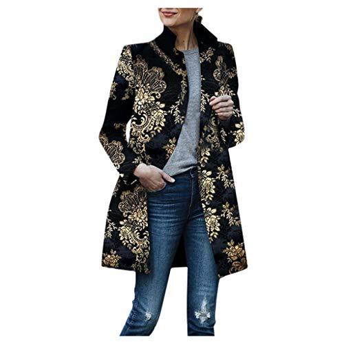 VJGOAL Long Veste Blouson Femme Vintage Imprimé Costume Noir Chic Revers Elegant Cardigan Manteau Mode Vêtement de Rue de Tir Jolie Blazer Floral Design Tendance Veste S-3XL