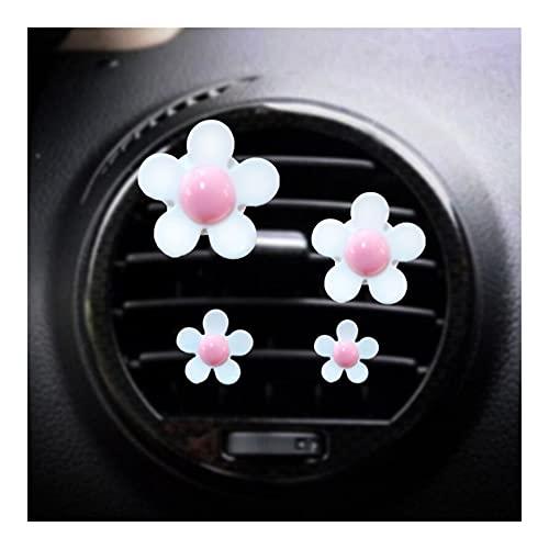 XIUHUA 4 PCS Outlet Outlet Vent Perfume CLIB PEQUEÑO Daisy Aire ACONDICIONAMIENTO Aromaterapia Clip de Coche Decoración Interior Suministros ACENDIENTES DE Aire (Color Name : White Pink)