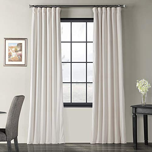 Half Price Drapes VPCH-120601-108 Signature Blackout Velvet Curtain, Ivory, 50 X 108