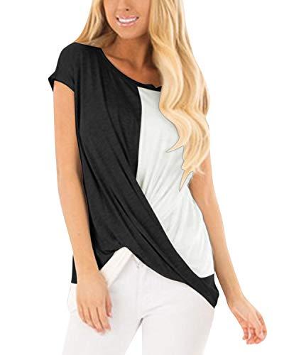 YOINS - Maglietta sexy da donna, estiva, con blocchi cromatici, incrocio frontale Colorblock-nero. S