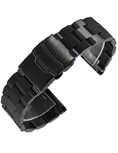 Reinherz 時計バンド 腕時計ベルト 18mm ブラック 金属 マット 艶消し ステンレス ダブルロック メッシュ 安心 高級 ビジネス 装着便利 工具付き バネ棒付属(18mm ブラック)