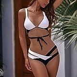 DKNBI Traje de baño de Patchwork para Mujer Push Up Bikini Set Traje de baño de Vendaje Sexy Biquini Bikinis en Blanco y Negro Ropa de Playa