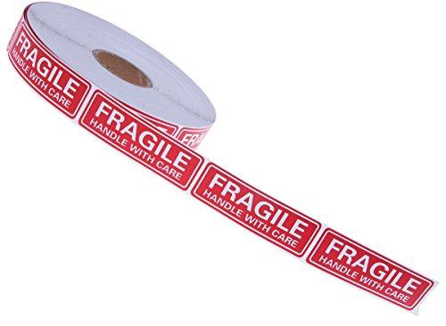 Juvale etiketten voor verzending in alle veiligheid, rood breekbaar – handvat hoge weerstand met stickers, zorgvuldig voor onderweg, luchthavens, 3 x 1,5 W – 1000 m