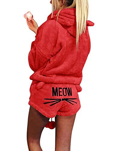 Damen Warmer Winter Gesetzte Zweiteilige Nette Katzen Pyjamas Hoodie Nachtwäsche mit Kapuze Hosenanzug Schlafanzug Jumpsuit rot XL