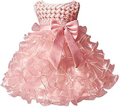 Jup'Elle Little Baby Girl Dress Flower Ruffles Party Wedding Pageant Princess Pink Dresses