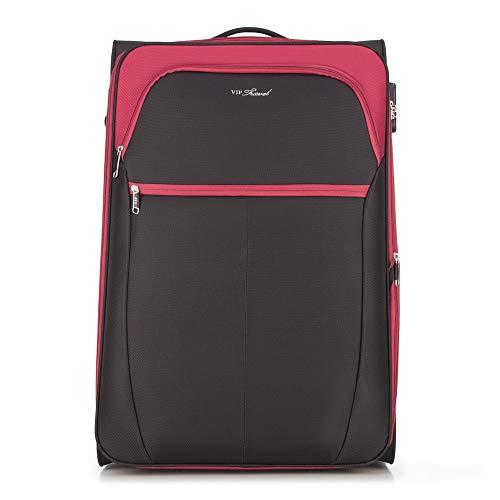 WITTCHEN Koffer – Großer | Textil, material: polyester | hochwertiger und stabiler | Schwarz/Rot | 108 L | 73x37x48 cm