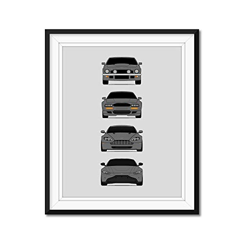 Poster Inspired by Aston Martin Vantage Generations Poster Print Wall Art Handmade Decor of the History and Evolution of the Vantage V8