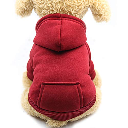Pet Clothes, Dogs Hooded Sweatshirt with Pocket Fleece Warm Soft Sweater Coat Winter Costume for Puppy Small Medium Dogs (M, Red)