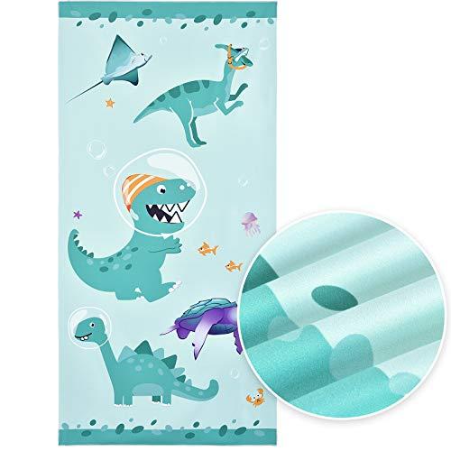 WERNNSAI Asciugamani per Bambini - 76 × 152cm Teli Mare in Microfibra di Dinosauro Asciugamani da Campeggio Assorbente Teli Bagno Telo da Spiaggia Viaggio Nuoto Piscina Picnic Asciugamano da Spiaggia