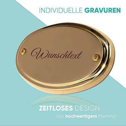 Edel Design Ovales großes Messing Schild - Türschild - Länge 11,1 cm, Breite 7,3 cm, Höhe 0,5 cm mit individueller Gravur