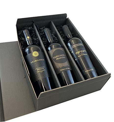 3er Geschenkset Primitivo | 3 hochwertige italienische Rotweine aus Apulien | trocken