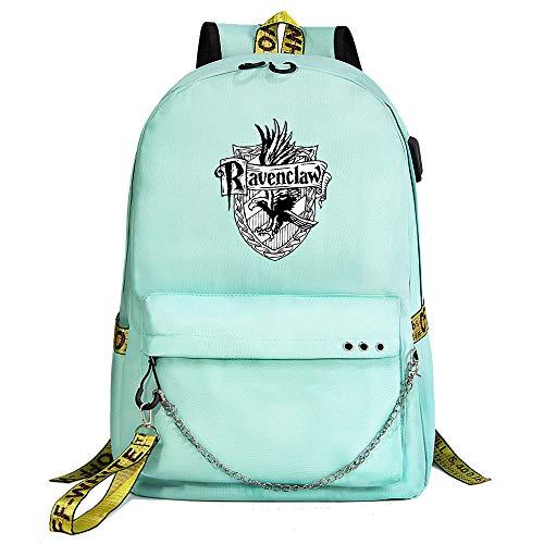 Mochila para portátil Harry Potter, Mochila Informal para la Universidad, Mochila Escolar Verde style-14