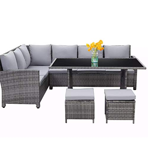 Harrier Rattan Corner Sofa & Patio Dining Table Set (6 Piece) - Luxury Garden Furniture | Grey Indoor Outdoor Conservatory & Patio Set