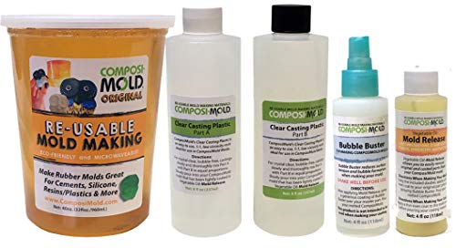 mold makers ComposiMold All-in-One Mold Making and Casting Pro Package, Epoxy Resin, Molding Material, Mold Release, and Bubble Buster