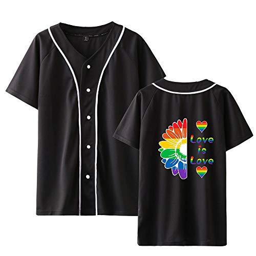 Love is Love LGBT Gay Lesbian Pride Camiseta de Béisbol Hombre y Mujer de Verano de Manga Corta Camiseta Casual Botón Delantero Béisbol Jersey T-Shirt Tops