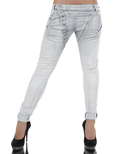 Damen Jeans Hose Boyfriend Damenjeans Harem Baggy Chino Haremshose L368, Größen:38 (M), Farben:Hellgrau
