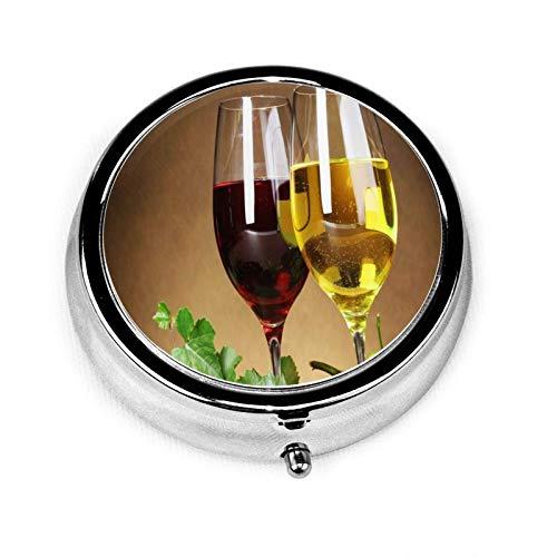 Pastillero de metal redondo para vino, uva y vino, organizador portátil con 3 compartimentos para viajes y uso al aire libre