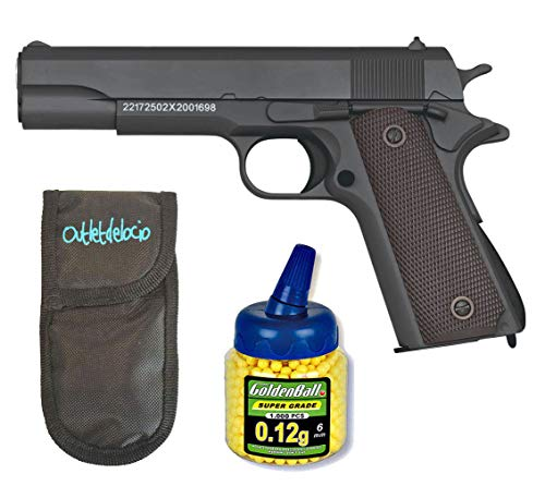 GOLDEN EAGLE Pistola Airsoft 1911 Negra. Calibre 6mm + Funda Portabalines + 1000 Bolas. 21993/23054