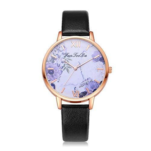 Dilwe Frauen Uhr, modische Blume Zifferblatt Quarzwerk Uhr Casual Armbanduhr mit verstellbaren Kunstlederband(Schwarz)