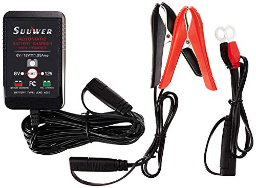 Suuwer 6V & 12V Smart Battery Maintainer - Battery Chargers - Trickle Charger - for Cars, Motorcycles, ATVs, Lawn Mower and More