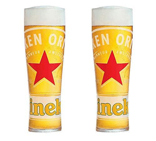 Heineken - 2 bicchieri da pinta in vetro temperato e nucleato (2 bicchieri)