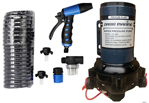 Oasis Washdown Deck Wash Pump KIT 12v 70 PSI 5.5 GPM 20 LPM for Caravan Rv Boat...