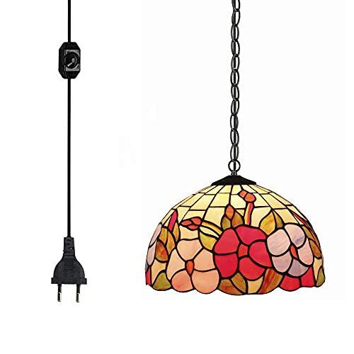 FSLIVING Tiffany - Lámpara de techo de estilo barroco con pantalla de cristal, lámpara de araña multicolor con 4,5 m de conector, con regulador de intensidad CE, cable para dormitorio, fondo