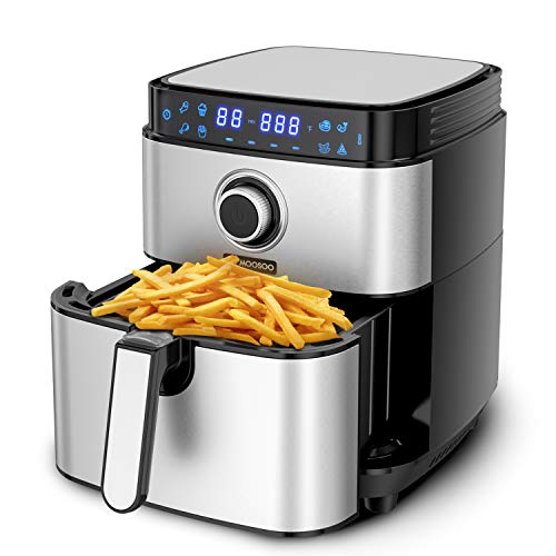 8-in-1 Air Fryer, MOOSOO Electric Airfryer 1500W, 4.7 QT Stainless Steel Air Fryers Oven, Digital Screen with Time/Temp Control, Auto Shutoff & Overheat Protection, Nonstick Basket, Less Oil Frying