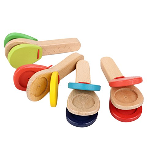 ROSENICE Wooden Castanet Clapper Educational Musical Percussion (Random Color)