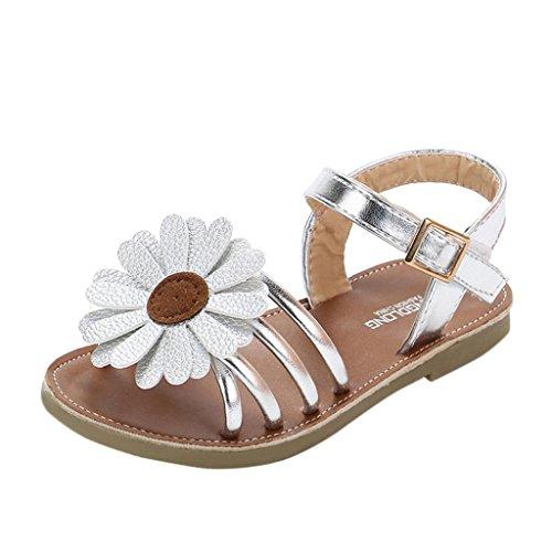 Sandalias Niña Verano Sandalias Romanas de niña bebé de Flores Zapatos de Princesa Zapatos Planos Zapatilla de niñas de Playa Zapatos de Cuna Chica (Plata, 29)