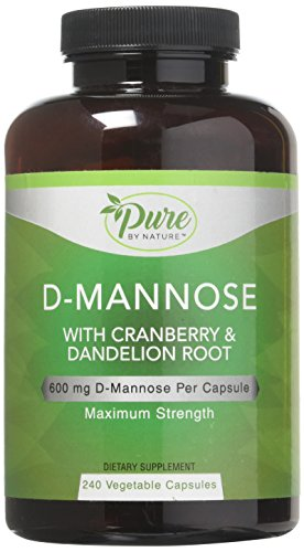 Pure By Nature D-Mannose with Cranberry and Dandelion Root Capsules, 240 Count
