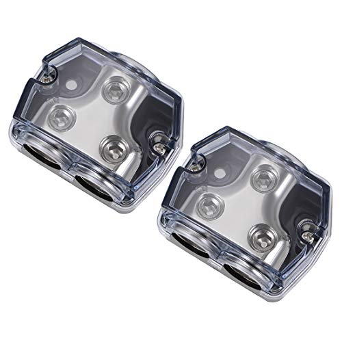 uxcell 2 Way Power Distribution Block 0 Gauge in 0 Gauge Out Amp Power Ground Distributor for Audio Splitter 2pcs