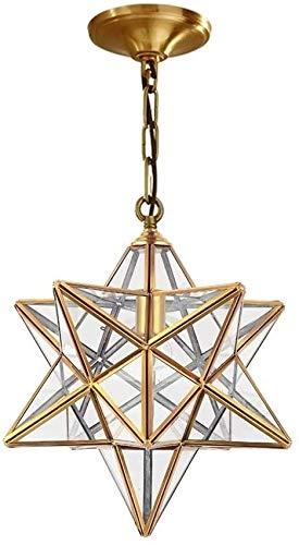 Postmodern Simplicity Moravian Star Star Clear Glass Sampshade 15 pulgadas Colgante Lámpara Lámpara 1 Luz Cocina Colgante Araña Todo cobre Tiffany Técnico Colgante Iluminación para sala de estar Dormi
