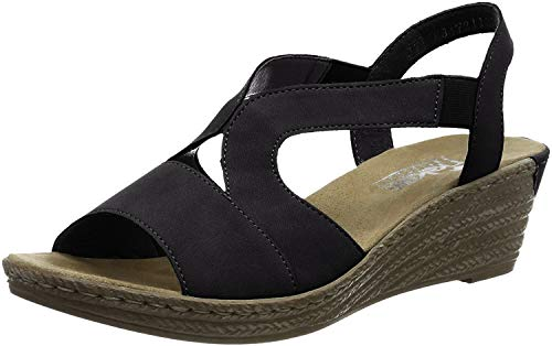 Rieker Newry Womens Wedge Heel Sandals 39 EU Schwarz