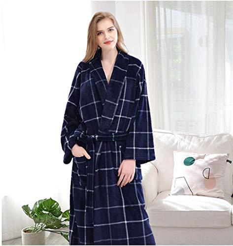 GYPPG Hotel Albornoces de algodón Pareja Camisón de Mujer, camisón de Franela, camisón de otoño e Invierno para Parejas, camisón de Lana Coral para Hombres y Mujeres-Cuadrícula Azul Chil