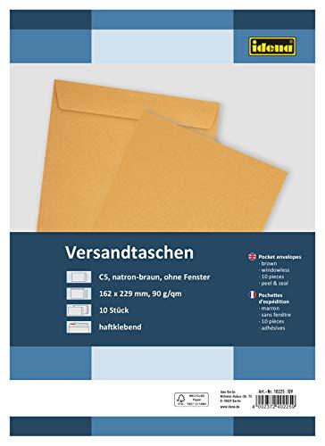 Idena 10225 - Versandtasche DIN C5, 90 g/m², haftklebend, ohne Fenster, FSC-Mix, braun, 10 Stück