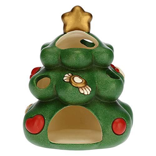 THUN - Porta Candela a Forma di Albero di Natale - Decorazioni Natale Casa - Ceramica - 11 x 10,5 x 12,5 h cm